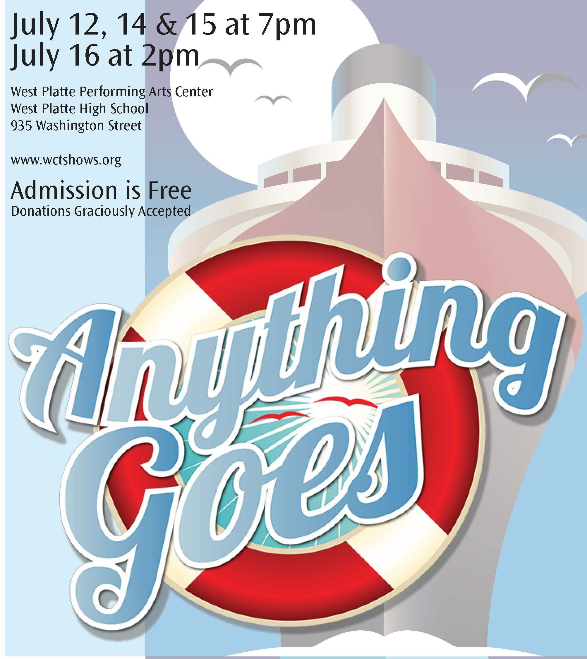 "WCT Presents ""Anything Goes"" presented by Weston Community Theatre at ,"