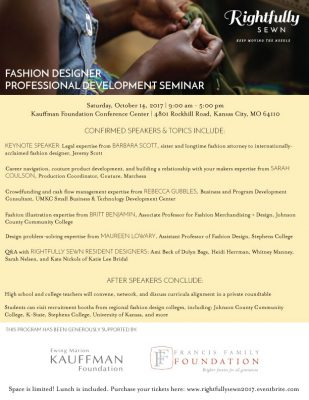 Rightfully Sewn Professional Development Seminar, Fabric Sourcing, and Career Day