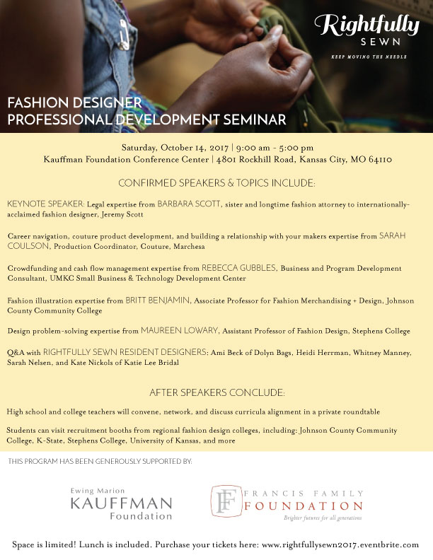 Rightfully Sewn Professional Development Seminar Fabric Sourcing And Career Day Rightfully Sewn At Kauffman Foundation Conference Center Kansas City Mo Art