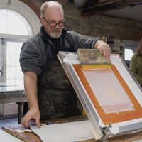 Silkscreen onto Encaustic: Combining Organic and Structural Ideas