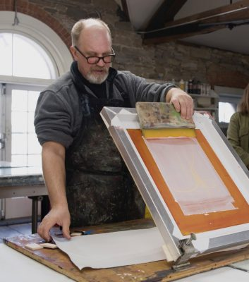 Silkscreen onto Encaustic: Combining Organic and Structural Ideas