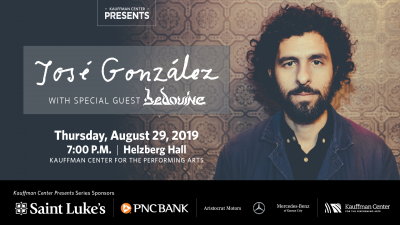 José González with special guest Bedouine presented by Kauffman Center for the Performing Arts at Kauffman Center for the Performing Arts, Kansas City MO