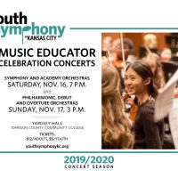 Youth Symphony Music Educator Celebration Concerts presented by Youth Symphony of Kansas City at Carlsen Center at Johnson County Community College, Overland Park KS