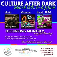 Culture After Dark at the Johnson County Arts & Heritage Center presented by Johnson County Arts & Heritage Center at Johnson County Arts & Heritage Center, Overland Park KS