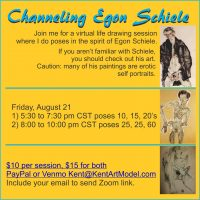VIRTUAL – Channeling Egon Schiele Virtual Life Drawing presented by Merging Rivers Artist Guild at Online/Virtual Space, 0 0