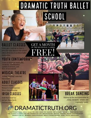 Dance Classes! Ballet, Breakdancing, Modern, Irish, Pointe and Musical Theatre presented by VIRTUAL- Eat, Drink, and Play: Family Fun! at ,