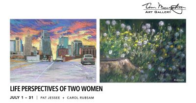 """Life Perspectives of Two Women presented by """"Okay, Okay; and other lies we tell ourselves"""" opening reception at Tim Murphy Art Gallery, Merriam KS"""